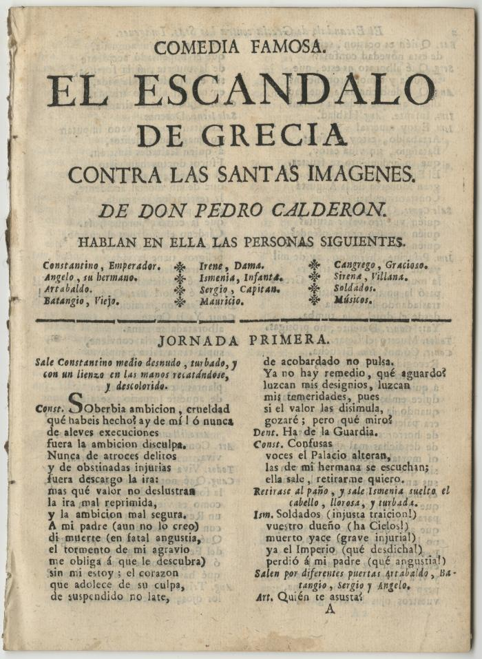 Queens College. Escandalo de Grecia contra las santas imagenes, t.p.