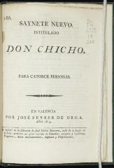Saynete nuevo intitulado Don Chicho.