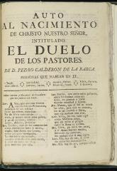 Auto al nacimiento de Christo nuestro señor intitulado El duelo de los pastores /