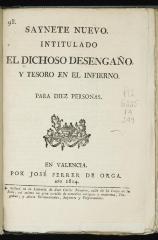 Saynete nuevo intitulado El dichoso desengaño y tesoro en el infierno.