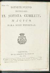Saynete nuevo intitulado El sopista Cubilete, mágico.