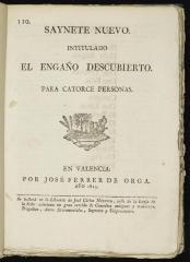 Saynete intitulado El engaño descubierto.