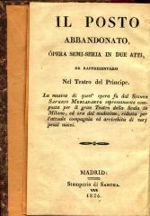 Il posto abbandonato : ópera semi seria in due atti. / El puesto abandonado :