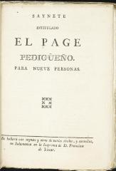 Saynete intitulado El page pedigüeño.