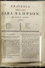 Tragedia intitulada Sara Sampson :