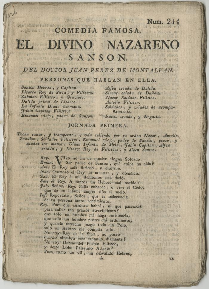 Queens College. Divino nazareno Sanson, t.p.
