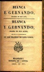 Blanca e Gernando : dramma in due atti. / Blanca y Gernando :