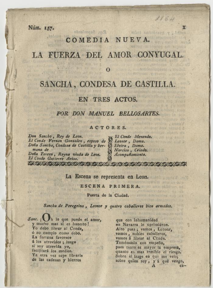 Queens College. Fuerza del amor conyugal, o, Sancha, condesa de Castilla; t.p.