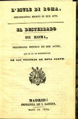 L'Esule di Roma : melodramma serio in due atti. / El desterrado de Roma :
