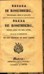 Chiara di Rosemberg : melodramma serio in due atti. / Clara de Rosemberg :