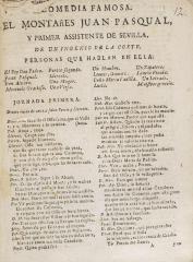 Comedia famosa. El montañes Juan Pasqual, y primer assistente de Sevilla /