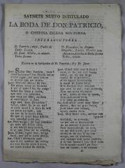 Saynete nuevo intitulado La boda de Don Patricio, o, chistosa escena nocturna.
