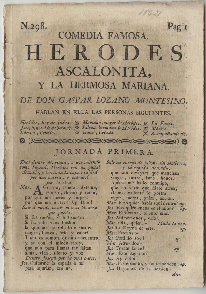 Queens College. Herodes Ascalonita y la hermosa Mariana, t.p.
