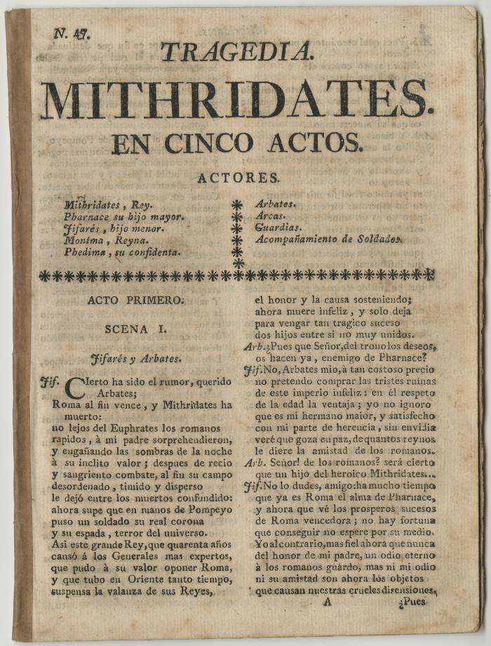 Queens College. Mithridates, t.p.