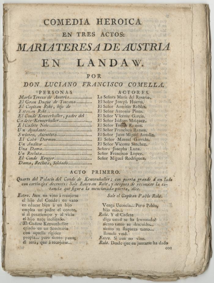 Queens College. Maria Teresa de Austria en Landaw, t.p.