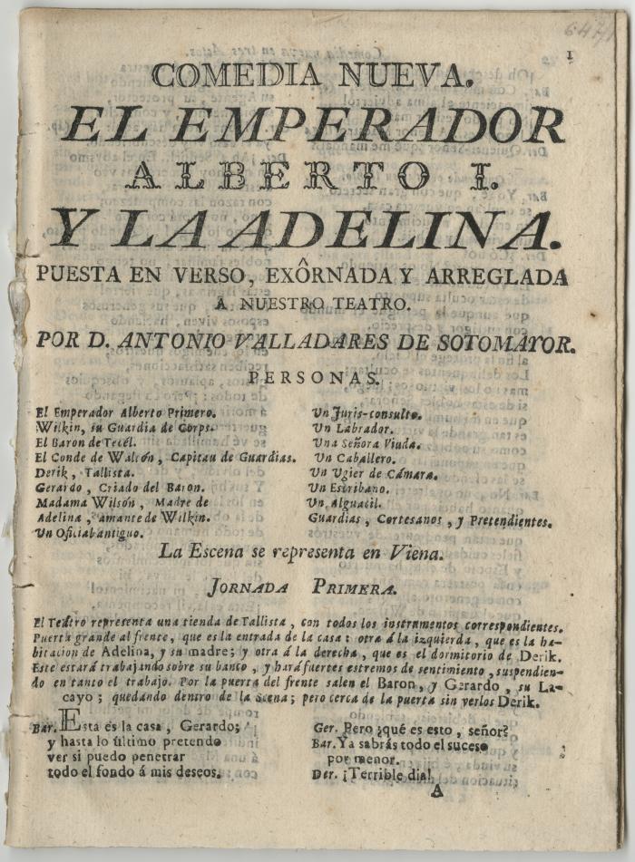 Queens College. Emperador Alberto I y la Adelina, t.p.
