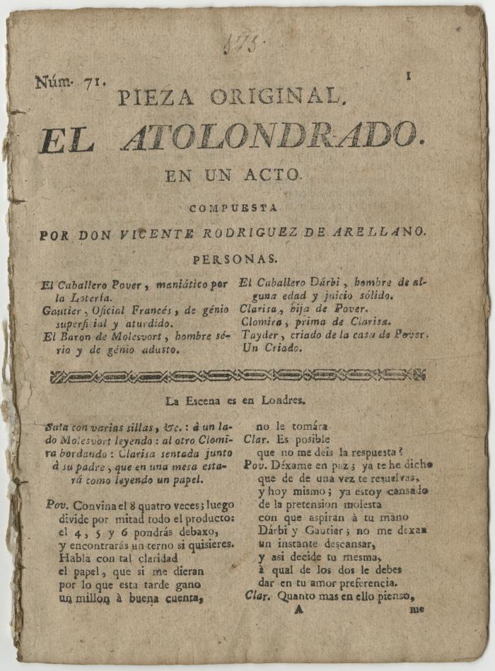 Queens College. Atolondrado, 1799; t.p.