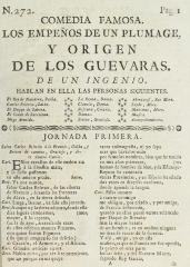 Los empeños de un plumage, y origen de los Guevaras /