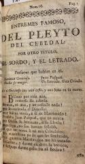 Entremes famoso, Del Pleyto del Cebedal, por otro titulo, El sordo, y el letrado.