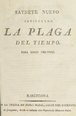 Saynete nuevo intitulado, La plaga del tiempo :