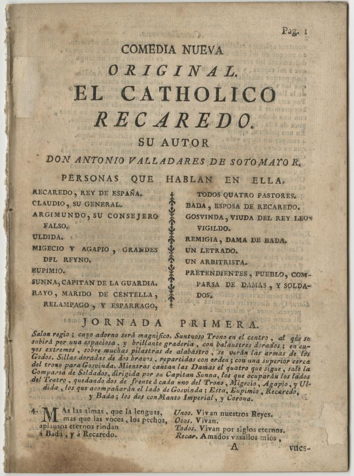 Queens College. Catholico Recaredo, t.p.