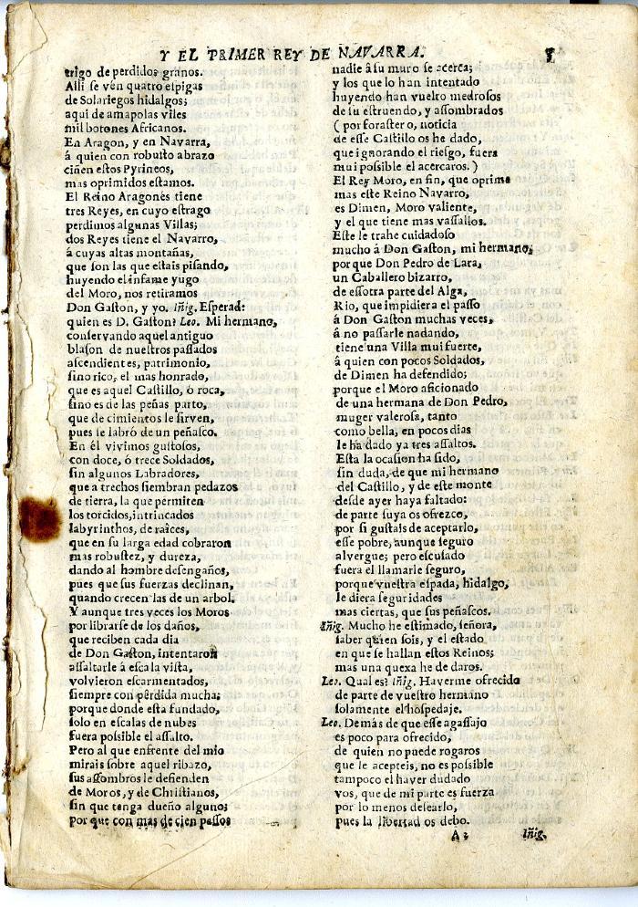 Queens College. Eneas de la virgen, first page.