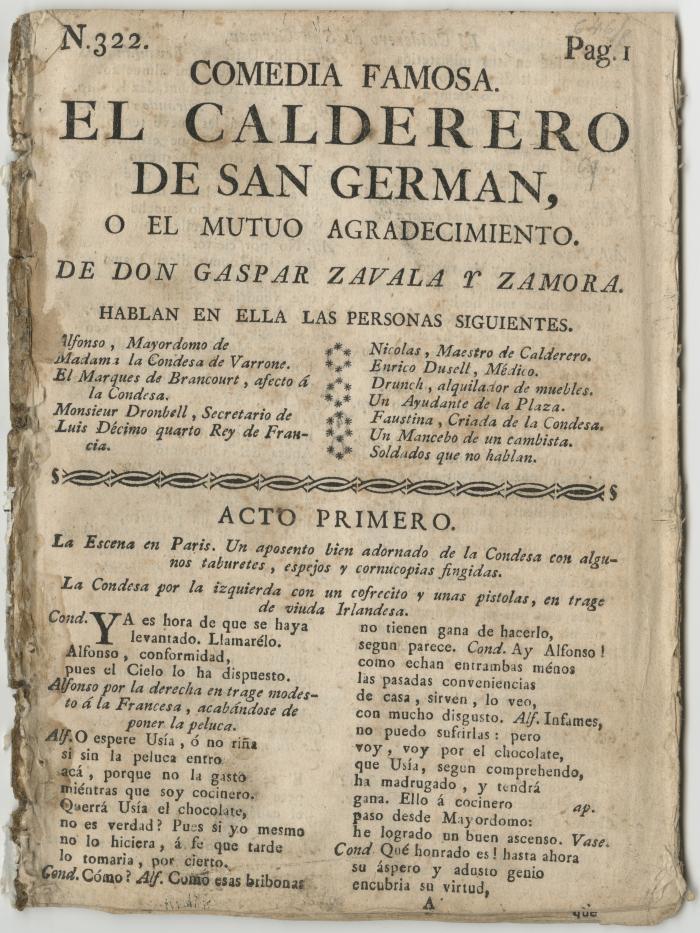 Queens College. Calderero de San Germán..., t.p.