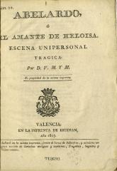 Abelardo, o, El amante de Heloisa :