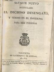 Saynete nuevo intitulado: El dichoso desengaño, y tesoro en el infierno.