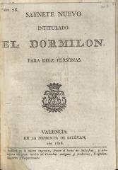 Saynete nuevo intitulado: El dormilon.