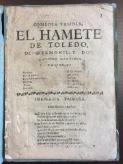 Comedia famosa, el hamete de Toledo /