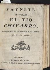 Saynete, intitulado El tio Chivarro,