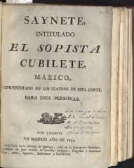 Saynete, intitulado El sopista cubilete, máxico,