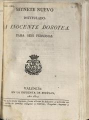 Saynete nuevo intitulado: La inocente Dorotea.