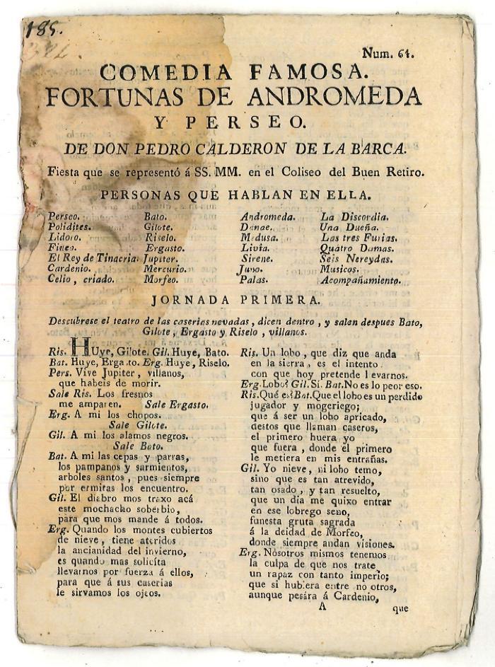 Comedia famosa. Fortunas de Andromeda y Perseo. /