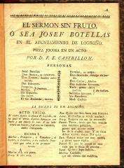 El sermon sin fruto, ó sea Josef Botellas en el ayuntamiento de Logroño :