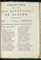 Entremés nuevo titulado Las caperuzas de Sancho.