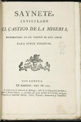 Saynete intitulado El castigo de la miseria.