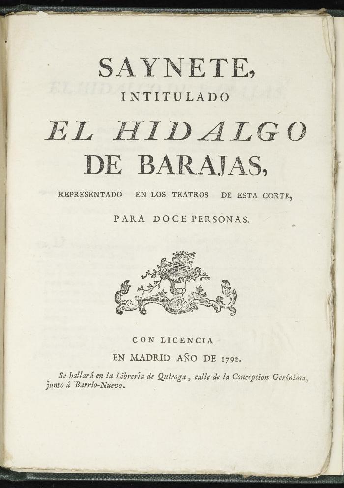 Saynete intitulado El hidalgo de Barajas :