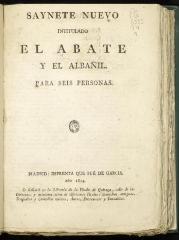 Saynete nuevo intitulado El abate y el albañil.