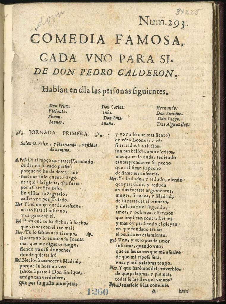 Calderón, Cada uno para sí (2) (Madrid?, ca. 1690-1700)